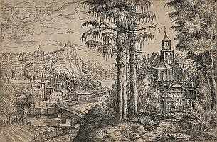 Hans Sebald Lautensack (German, c. 1520-c. 1560) Two Pines and a Church across from a Rivertown, 1553 (Bartsch, 42). Monogrammed within