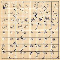 Merce Cunningham (American, 1919-2009), Suite by Chance, Movement Chart Slow Phrases from III A-B-C-D-E and V C, 1952, Unsigned, identi