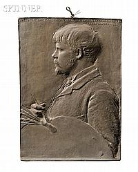 """Augustus Saint-Gaudens (American, 1848-1907), Jules Bastien-Lepage, Titled, inscribed and signed within the composition """"IULES BASTIEN-"""