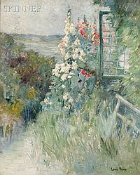 """Louis L. Betts (American, 1873-1961), Hollyhocks in a Seaside Garden, Signed """"LOUIS BETTS"""" l.r., Condition: Signature reinforced, minor"""
