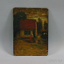"""Thomas Austen Brown (British, 1857-1924) House with Figure and Trees. Signed """"T. Austen Brown"""" l.r. Oil on canvas mounted to board, 12"""