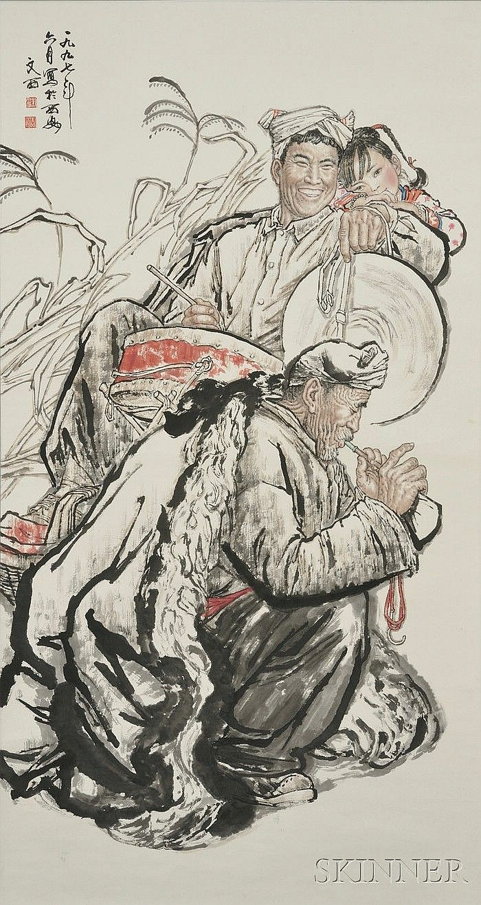 Two Modern Paintings, Liu Wenxi (b. 1933), Revolutionary Painting of Three Generations, ink and color on paper, dated June 1997 in X...