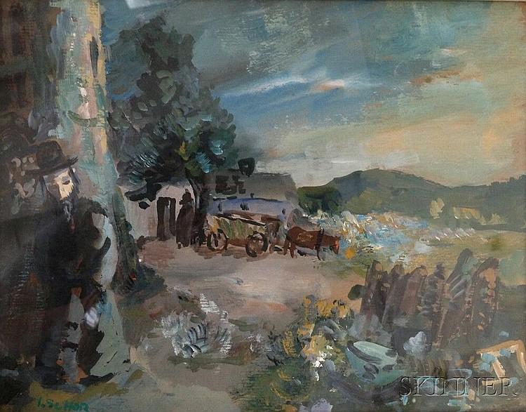 Ilya Schor (American, 1904-1961), Shtetl Scene with Figure, Signed