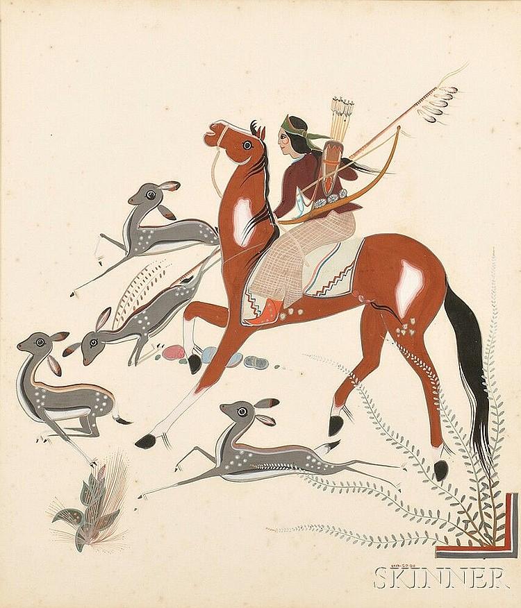 Framed Painting of a Navajo Hunter on Horseback, Narciso Abeyta, Ha-so-de, signed