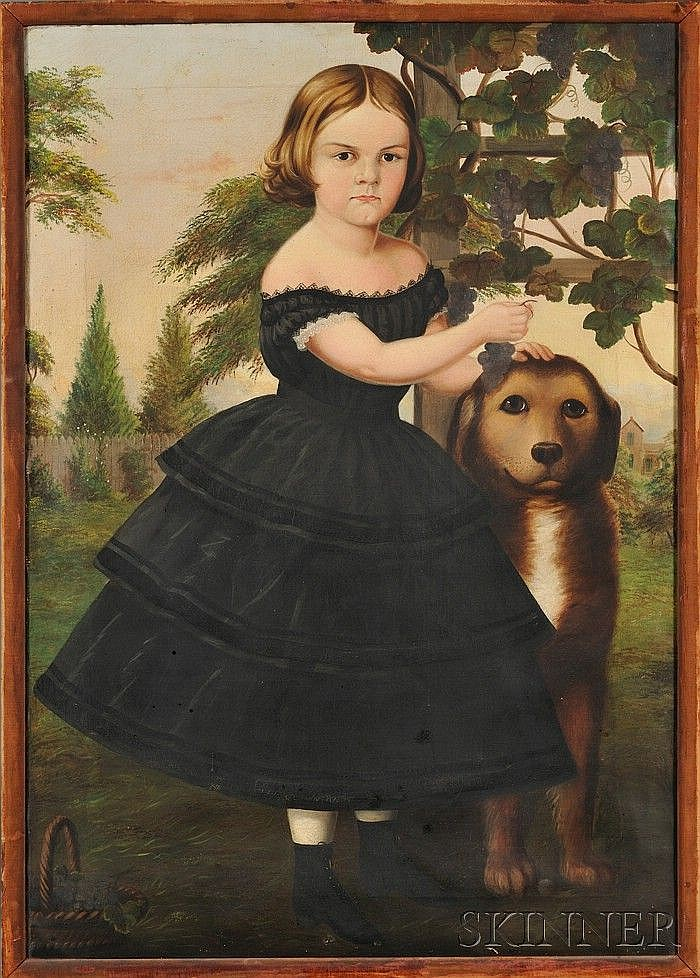 Susan Catherine Moore Waters (American, 1823-1900) Portrait of a Girl and Her Dog in a Grape Arbor. Unsigned. Oil on canvas, sight size
