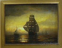 "James J. McAuliffe (American, 1848-1921) Framed Oil on Canvas, signed l.l. ""J.J. McAuliffe 85"", moonlight ships, ht. 17 1/2, wd. 24 ..."