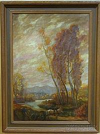 Marco Zim (Russian/American, 1880-1963) Framed Oil on Canvas of a Horsecart in Autumn, signed l.r. Zim, ht. 28, wd. 19 1/2 in.