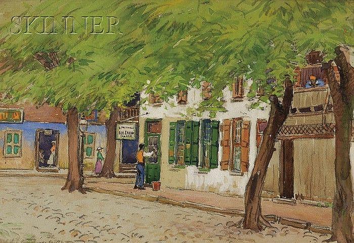 Sydney Richmond Burleigh (American, 1853-1931) Cleaning the Shop Windows/A Street Scene Sign...