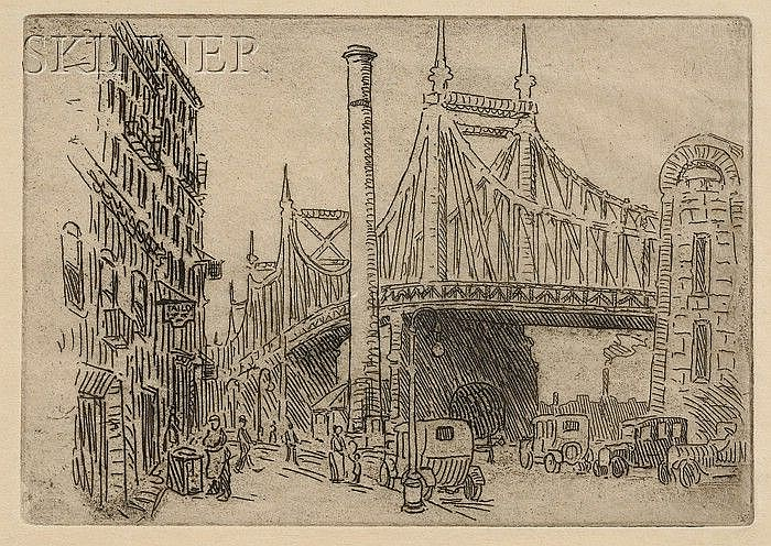 Lester George Hornby (American, 1882-1956) Lot of Three City Views: By the Bridge; Les be...