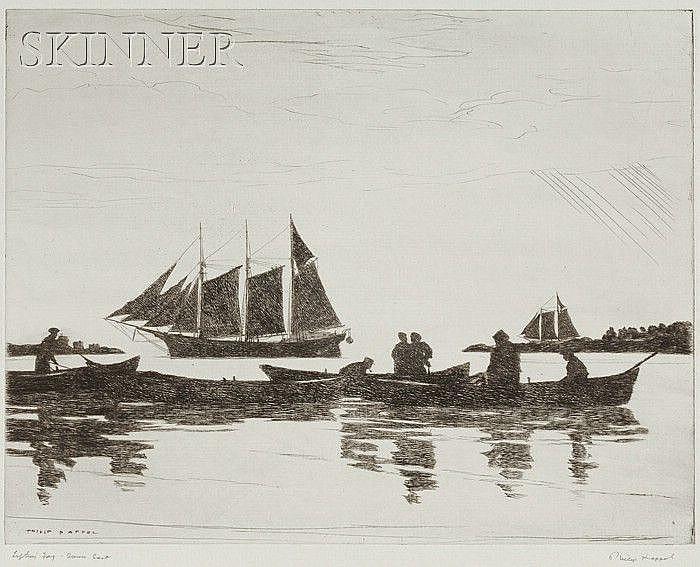 Philip Kappel (American, 1901-1981) Lot of Three Seafaring Views: Lifting Fog - Down East; ...