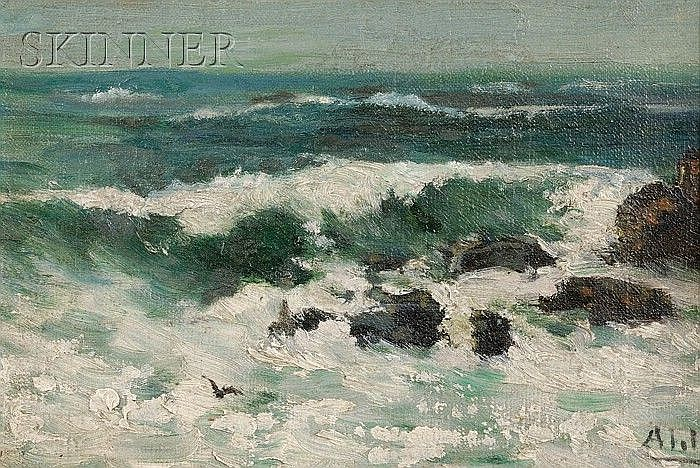 Henry Curtis Ahl (American, 1905-1996) Rocky Coastal Surf Signed