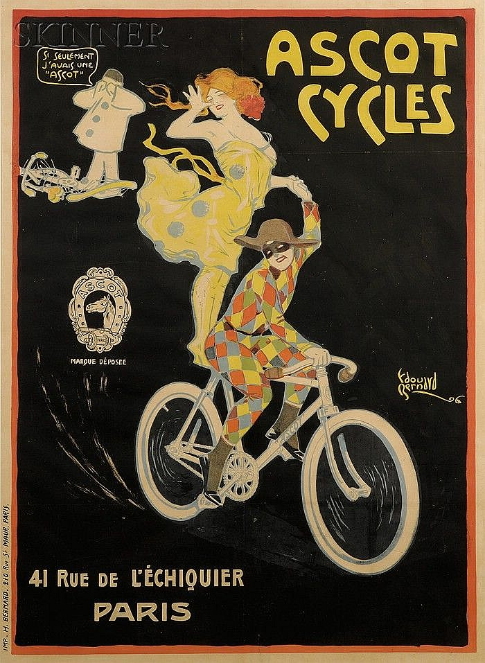 Edouard Alexandre Bernard (French, 1879-1950) Ascot Cycles. Signed and identified in the mat...