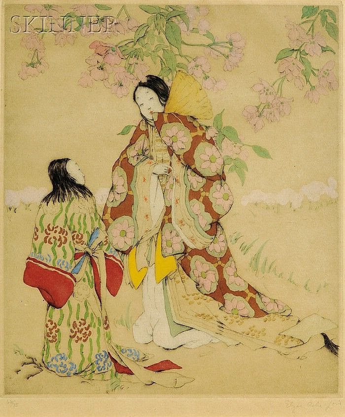 Elyse Ashe Lord (British, 1900-1971) Mother and Daughter Under the Blossoms, edition of 75. Si...