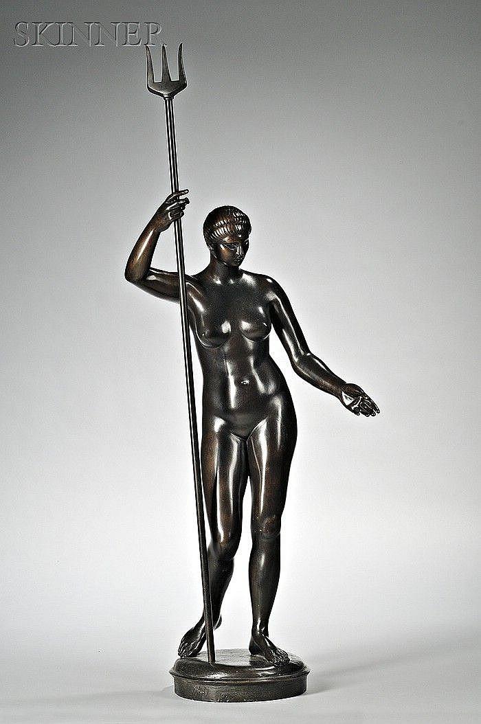 Amleto Cataldi (Italian, 1882-1930) Portrait of a Female Nude with Trident Signed