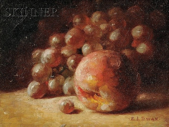 Emma Levinia Swan (American, 1853-1927) Still Life with Peach and Grapes Signed