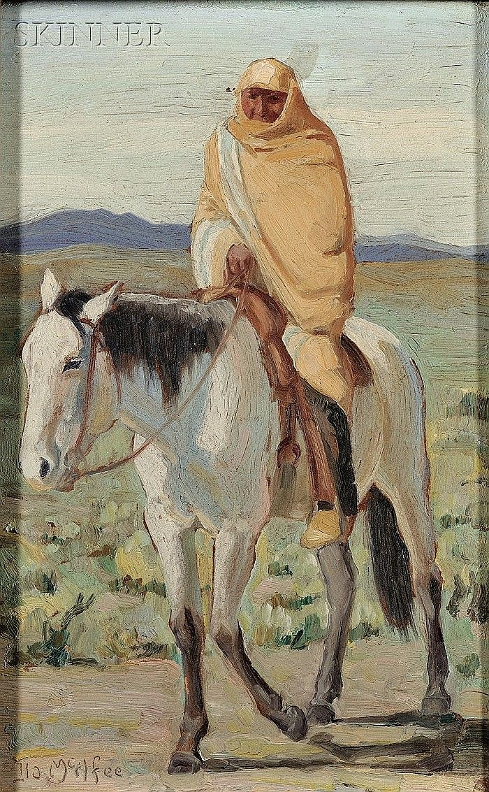 Ila Mae McAfee (American, 1897-1995) Portrait of a Taos Pueblo Woman on Horseback Signed and...