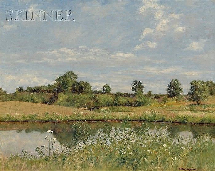 Charles Albert Burlingame (American, 1860-1930) View of a Pond on a Breezy Day Signed and da...