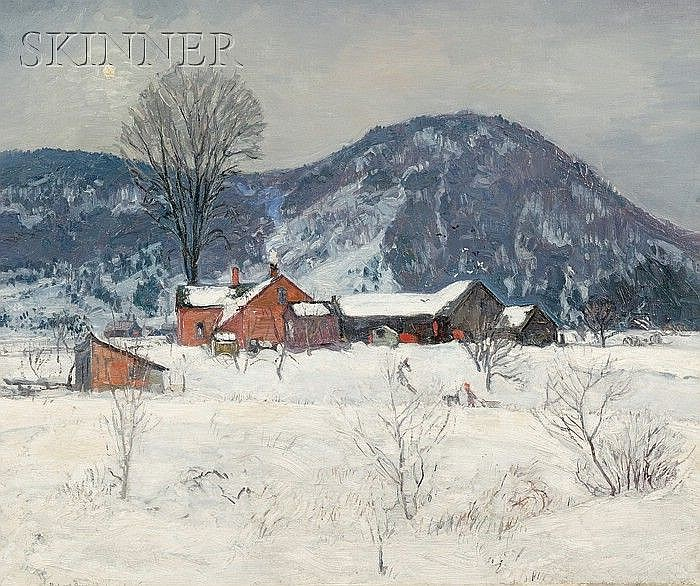 Robert Strong Woodward (American, 1885-1957) Red Farm in Winter, alternatively titled Under t...