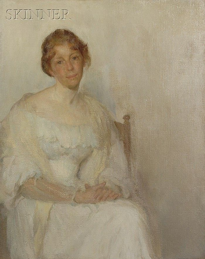 Wilton Robert Lockwood (American, 1861-1914), The Lady in White, Unsigned, identified on labels including one from the Museum of Fine,