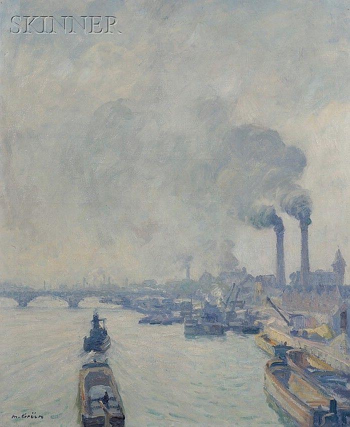 Maurice Grun (French, 1869-1947) Quai de la Gare, Paris Signed