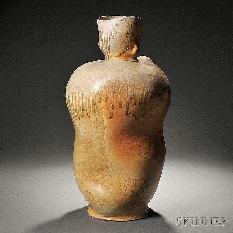 Chris Gustin (American, b. 1952) Large Ceramic Vessel  Wood-fired stonewareSouth Dartmouth, Massachusetts, 2004Signed and dated, ht. 27