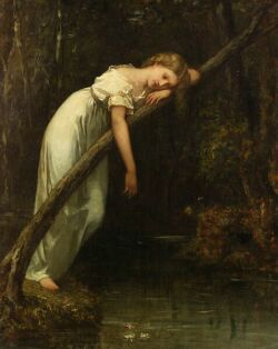 William Morris Hunt (American, 1824-1879), Ophelia, Monogrammed