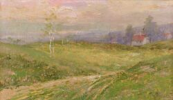 Theodor Feucht (German, b. 1867), Spring Pastures with a Distant Cottage, Signed