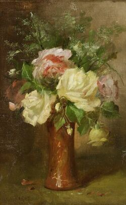 Jules Felix Ragot (French, ac. 1867-1882), Still Life with Roses, Signed