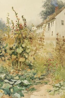 Henry W. Rice (American, 1853-1934), Summer Garden, Castine, Maine, Signed, identified and dated