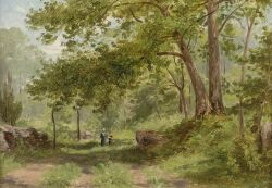 William Rickarby Miller (American, 1850-1923), A Walk in the Woods, Signed and dated