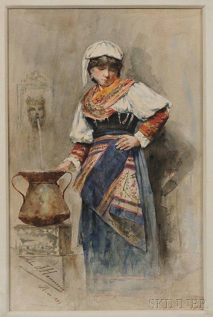 Johann (John) J. Hammer (German, 1842-1906) Peasant Woman Filling a Water Urn. Signed, inscribed, and dated