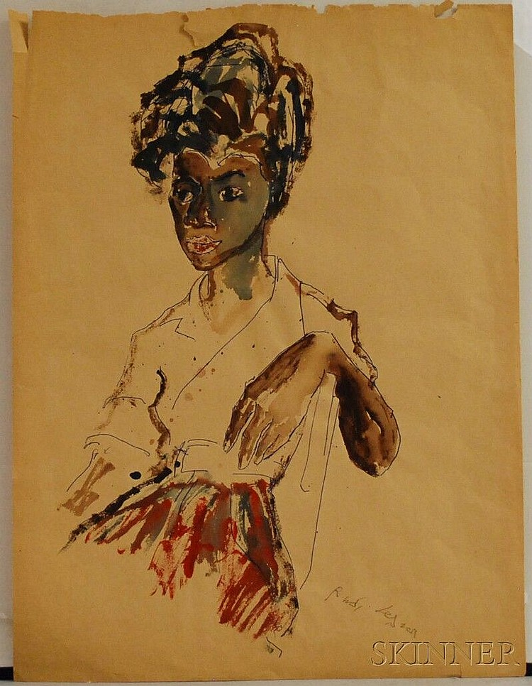 Rudi Lesser (German, 1901-1988) Portrait of a Woman. Signed