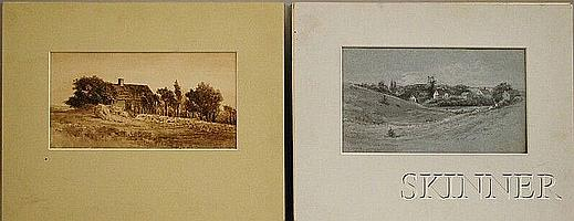 Leroy Milton Yale (American, 1841-1906) Two Drawings: House and Village. Unsigned, identified on the reverse. House ink on paper, si...