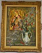 Serge Belloni (Italian, b. 1925) Floral Still Life with Madonna. Signed and dated