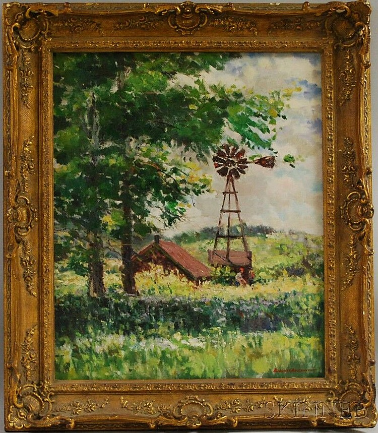 Bogomir Bogdanovic (American/Yugoslavian, 1923-2011) Barn and Windmill in Summer. Signed
