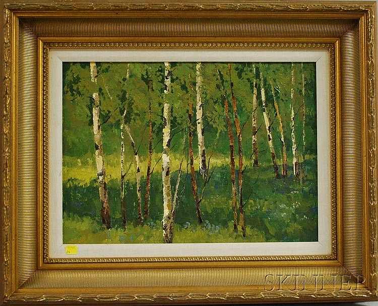 Attributed to Mark Kremer (Russian, b. 1928) Birch Trees in Summer. Unsigned. Oil on paperboard, 13 1/2 x 18 3/4 in., framed. Condit...