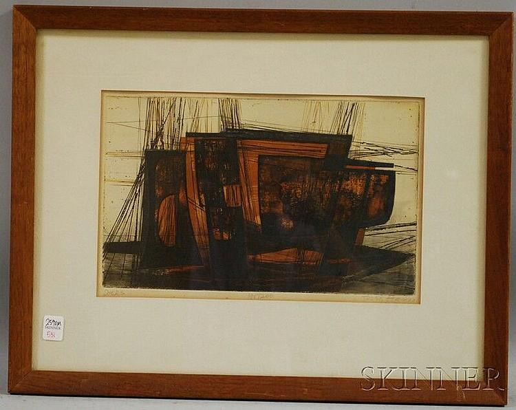 Terry Haas (Czechoslovakian, b. 1923) Docks. Signed