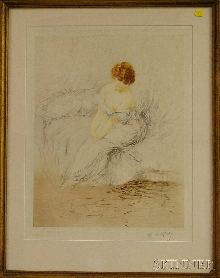 Henri (Hirne) Le Riche (French, b. 1868) Le Boudoir. Signed in pencil l.r. Color etching with soft ground on paper, plate size 20 1/...