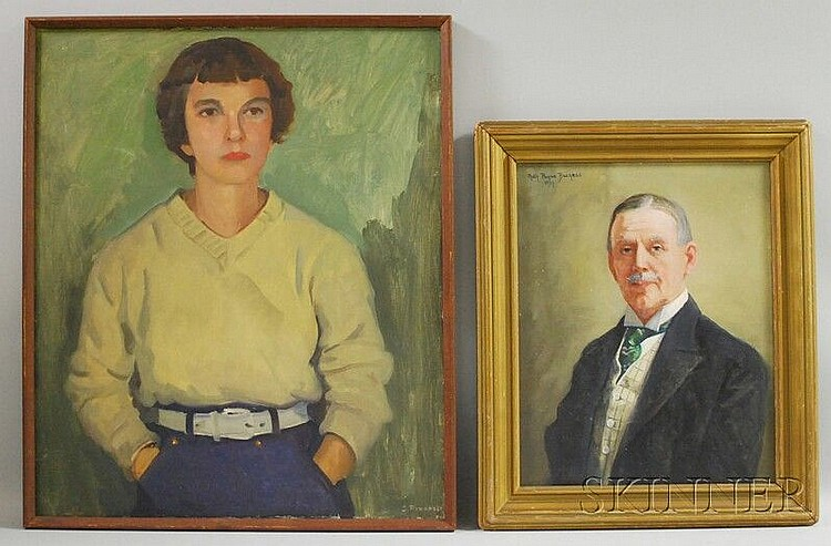 Two Portraits: Ruth Payne Burgess (American, 1865-1934), Portrait of a Gentleman, signed