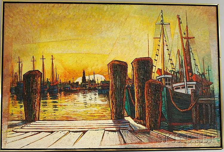 Woldemar Neufeld (Russian/American, 1909-2002) Whorf at Sunset. Signed
