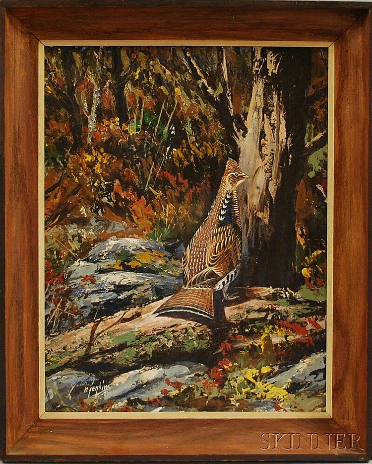 Ron Jenkins (American, b. 1932) Grouse on the Forest Floor. Signed