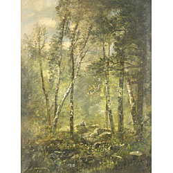 Joseph Jefferson (American, 1829-1905) The Birch Woods Signed and dated