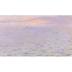 Eric Pape (American, 1870-1938) Gloucester Sunset Estate stamp on the reverse. Oil on panel, 5 x 8 1/2 in. (12.6 x 21.7 cm), framed. Condition: Minor loss to u.l. corner, subtle surface grime.