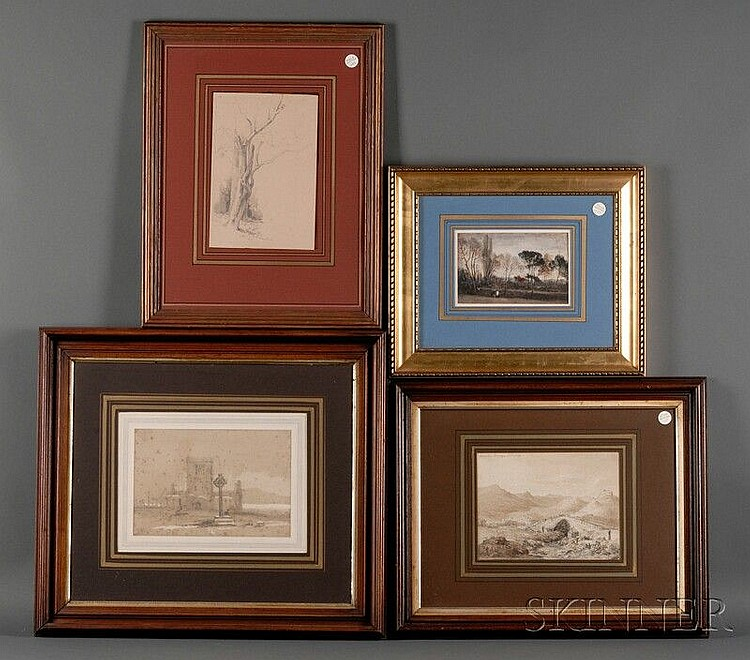 British School, 19th Century Five Framed Works on Paper:, Study of Trees watercolor; Devil's Bridge, Sicily, ink and wash, titled u...