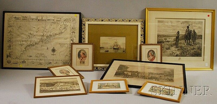 Ten Works of Art, Mostly Prints, including an engraving of Napoleonic soldiers after Alfred Meissonier by Charles Jean Louis Courtry...