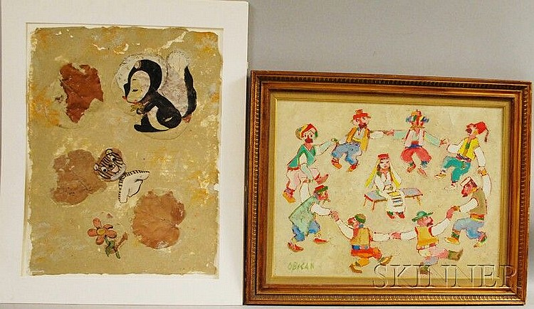 Two Works: Jovan Obican (Croatian, 1918-1986), Folk Dance, signed