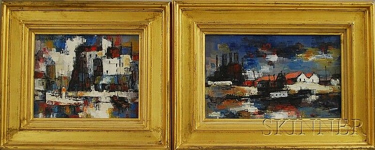 Pierre Lemarchand (French, 1906-1970) Two Abstract Industrial Harbor Views. Signed