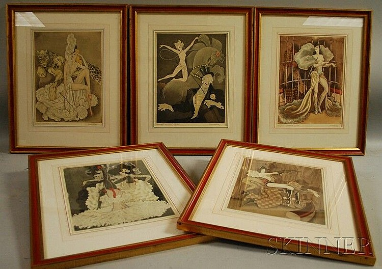Kurt Hilscher (German, 1904-1981) Five Images of Circus and Burlesque Performers. Each signed in pencil l.r. and titled in pencil l....