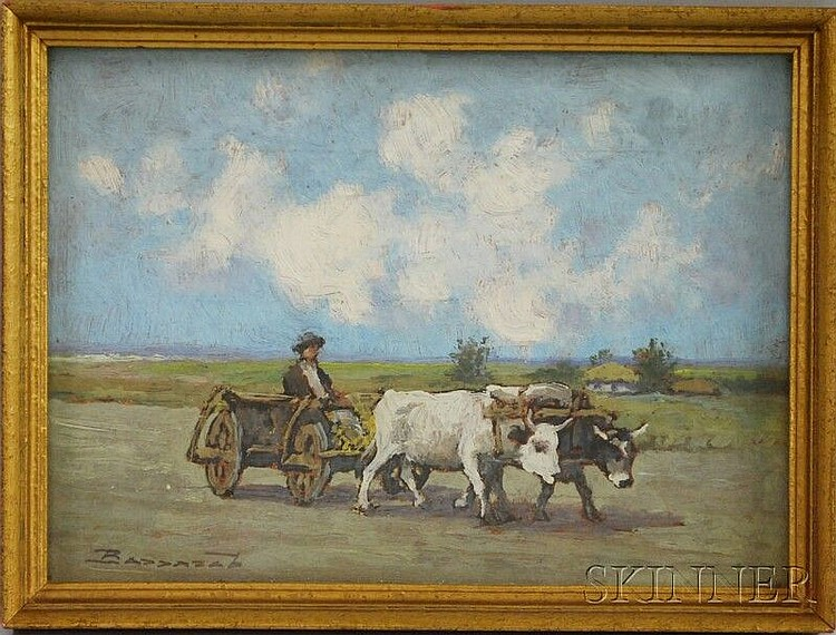 Ludovic Bassarab (Romanian, 1868-1933) Oxen Cart. Signed