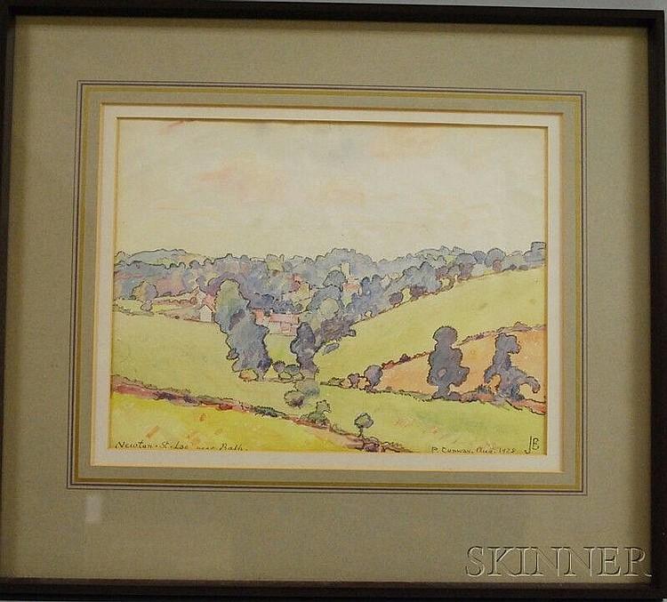 James Brown (England, 1863-1943) Landscape at Newton-St-Loe, Bath. Initialed